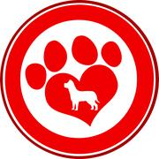 Love Paw Print Red Circle Banner Design With Dog Silhouette - stock illustration