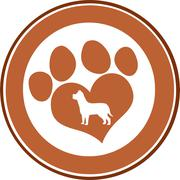 Love Paw Print Brown Circle Banner Design With Dog Silhouette - stock illustration