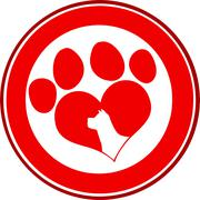 Love Paw Print Red Circle Banner Design With Dog Head Silhouette - stock illustration