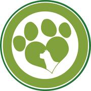 Love Paw Print Green Circle Banner Design With Dog Head Silhouette - stock illustration