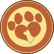Love Paw Print Brown Circle Banner With Dog Head Silhouette - stock illustration
