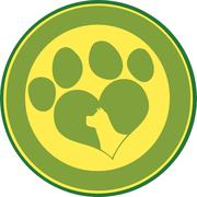 Love Paw Print Green Circle Banner With Dog Head Silhouette - stock illustration
