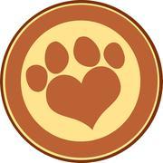 Stock Illustration of Love Paw Print Brown Circle Banner