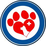 Veterinary Love Paw Print Blue Circle Banner Design With Dog Head And Cross - stock illustration