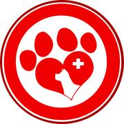 Veterinary Love Paw Print Red Circle Banner Design With Dog Head And Cross - stock illustration