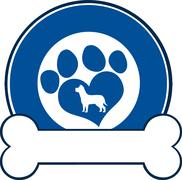 Veterinary Blue Circle Label With Love Paw Dog And Bone - stock illustration
