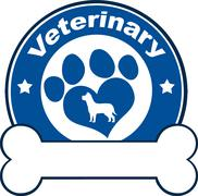 Veterinary Blue Circle Label With Love Paw Dog And Bone Under Text - stock illustration