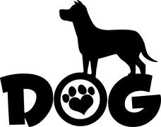 Dog Black Silhouette Over Text With Love Paw Print - stock illustration