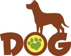 Dog Brown Silhouette Over Text With Green Love Paw Print - stock illustration