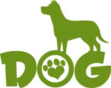Dog Green Silhouette Over Text With Love Paw Print - stock illustration