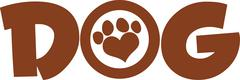 Dog Brown Text With Love Paw Print - stock illustration