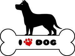 Dog Black Silhouette Over Bone With Text And Red Love Paw Print - stock illustration