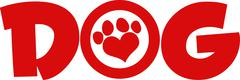 Dog Red Text With Love Paw Print - stock illustration