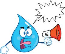 Angry Water Drop Character Screaming Into Megaphone With Speech Bubble - stock illustration