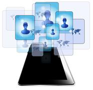 tablet pc with people communicating - stock illustration