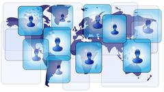 Several persons in social media network on world map Stock Illustration