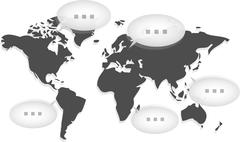 world map with several balloons communicating - stock illustration