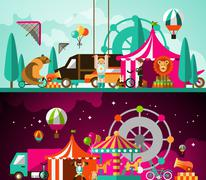 Circus day and night Stock Illustration
