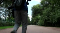 Traveler walking on the way Stock Footage