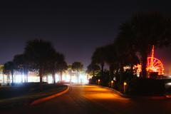 Walkway at night in dayton beach, florida. Stock Photos
