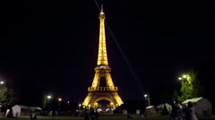 Eiffel Tower Time lapse Paris France at Night 1080P - stock footage
