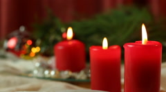 Christmas Candles, Christmas And New Year Decoration With A Lit Candles Stock Footage