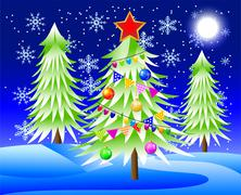 there is the decorated christmas tree in-field - stock illustration