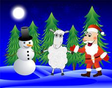 Santa claus, sheep and snow man  in the winter forest Stock Illustration