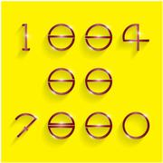 Stock Illustration of shinning circle digit style on yellow background.