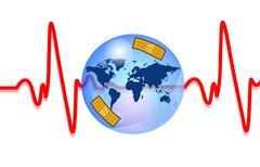Blue earth injured with heartbeat Stock Illustration