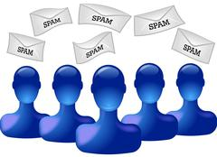Blue persons with spam envelopes Stock Illustration