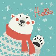 Polar bear says hello - stock illustration