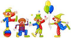 Playful clowns - stock illustration