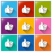 Buttons with hands showing an approve sign Stock Illustration