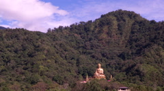 Giant Golden Buddha Jhengde Statue in Fusing Village, Puli Township Stock Footage