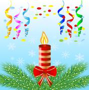 Stock Illustration of festive postal with a candle and green branches