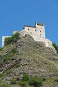 rocca di varano (marches, italy) - stock photo
