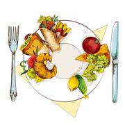 Healthy and unhealthy food - stock illustration