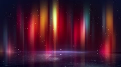 Multicolor borealis and reflection loopable background Stock Footage