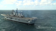 HMS Illustrious Helicopter Operations Stock Footage