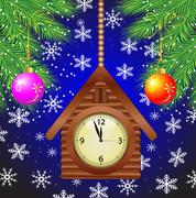clock as a house and green branches of christmas tree - stock illustration