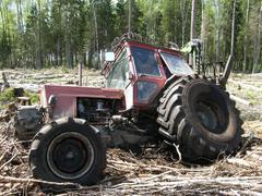 Belarus Mtz 82 forestry tractor got stuck in mud Stock Photos