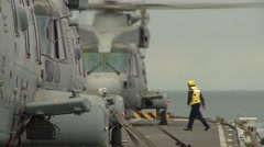 British Aircraft Carrier HMS Illustrious Helicopter Operations Stock Footage