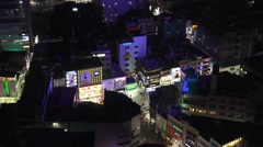 Aerial View Colorful Urban City Streets Night Clubs Busan South Korea 4K Stock Footage