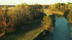 Flying over a River Stock Footage