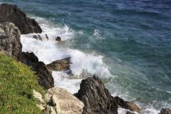 Beautiful waves of the Aegean Sea. - stock photo
