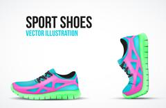 Background of Two Running shoes. Bright Sport sneakers symbols. Stock Illustration