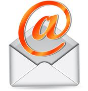 orange mail icon - stock illustration