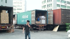 Logistics center, in Shenzhen, China - stock footage