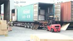 Logistics center, in Shenzhen, China Stock Footage